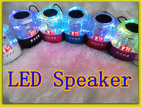 Wholesale Crystal triangle Music Speaker Crystal LED Portable Mini Speaker with FM USB Micro SD TF Card Slot For Computer Phone Tablet
