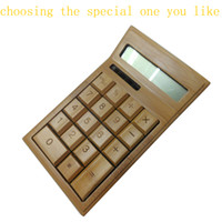 Wholesale 1pcs Top Selling New Mini LCD Display Low carbon Bamboo Solar Calculator