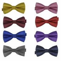 Wholesale 50 Fashion Men Polyester Silk Silver Filament Bow ties Men s Pub Vintage Wedding party Bow tie Pre tie with Designs