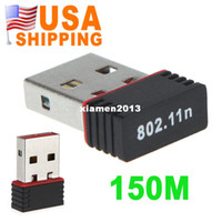 Wholesale US Stock To USA CA USB Mini WiFi Wireless Adapter Network Card n M UPS Dropship