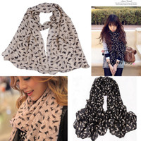 Wholesale Women Girl Scarves Comfortable Soft Chiffon Velvet Cute Kitten Graffiti Printed Shawl Muffler Style Colors Choose DGH