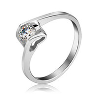 Wholesale Sterling Silver White Solitaire Swarovski Diamond Ring Birthday Gift Ring Wedding Rings