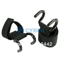 Wholesale 2 x Black Weight Lifting Hook Training Gym Grips Straps Gloves Wrist Support Lift TK0773