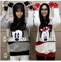 Wholesale EAST KNITTING AS Women loose plus size outerwear cartoon mouse Hoodies Ladys Minnie sweatshirt Lovely Animal Ear Pullovers