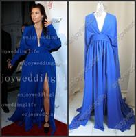 award bracelets - kim kardashian Blue V Neck Long Sleeves Chiffon Ruffles Split Floor Length Red Carpet Celebrity Dresses BO3014 to get one bracelet free
