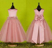 Christening ball knots - 2015 Hot Customed Princess Pink Flower Girl Dresses V Back Ribbon Bow Knot Waist Flower Floor Length Tulle Ball Gowns Girls Pageant Dresses
