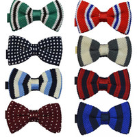 Wholesale 200 New Hot sales Men Men s Polyester Knitted Knitting Bow ties Festival Pub Wedding party Bow tie pre tie designs