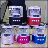 Wholesale 50pcs Circle crystal mobile phone small audio mini speaker tf card usb flash drive fm radio digital led screen