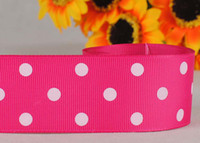 Wholesale 1 mm Rose red dots pattern printed grosgrain ribbon package DIY dots gift ribbon yards