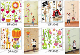 Wholesale LLFA3162 pairs desings Mix cm Kids height tower transparent Wall Sticker inch and cm mark