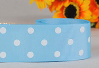Wholesale 1 mm blue polka dots series printed grosgrain ribbon package DIY dots gift ribbon yards