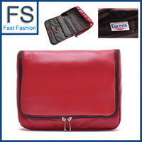 Wholesale PU waterproof Cosmetic bag big capacity toilet kit travelling wash bag hanging toiletry kit