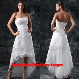 2015 Robes de mariée de plage courte 1142 A-ligne de perles Appliqued avec court avant et longue Robes de mariée arrière Dhyz 01 (Acheter 1 obtenir 1 Tiara libre)