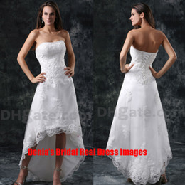 Wholesale 2015 Short Beach Wedding Dresses A Line Beaded Appliqued with Short Front and Long Back Bridal Dresses Dhyz Buy get free Tiara