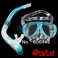 Wholesale New Blue Scuba Diving Equipment Silicone Dive Mask Dry Snorkel Set Scuba Snorkeling Gear Kit TK1081