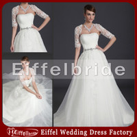 Wholesale Two Piece Wedding Dress Sexy Lace Jacket Embellished Beaded Bateau Waist A line Sweep Train White Organza Bridal Dresses