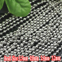 Wholesale Min Order meter Rhodium Silver Plated Iron Metal Based mm Ball Chains Parts for DIY Jewelry Making