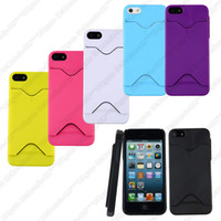 Plastic For Apple iPhone For Christmas Plastic Case With ID Credit Card Holder Back Cover For iPhone 5 5G
