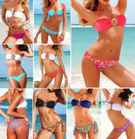 Wholesale 2013 Female Monokini Diamond Bandeau Bikini Set Women Sexy Swimsuit Swimwear