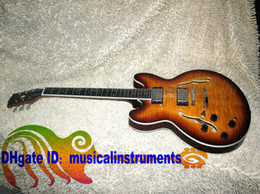 Custom Shop Left Handed Guitar one piece neck 335 Jazz Electric Guitar IN Sunburst beautiful custom guitars from china