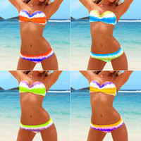 Wholesale Sexy Women Lady Girl Twist Bandeau Padded Swimwear Bikini Strapless Swimsiut Colors