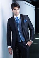 Wholesale New Design Dark blue Groom Tuxedos Groomsmen Best Man Suit Men Wedding Suits Bridegroom Suit Jacket Pants Vest Tie OK