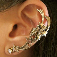 Wholesale Unique Gothic Punk Star Ear Cuff Ear Clip Rhinestone Stud Earrings For Women Fashion Jewelry