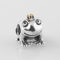 Wholesale Authentic ALE Sterling Silver Frog Prince Fantasy Animal Bead with Gold Crown Fits European Pandora Charm Beads Bracelets