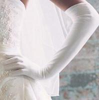 Wholesale Ladies ivory Stretchy Satin gloves wedding bridal opera