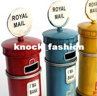 Wholesale zakka Tin toy Iron Crafts village old Classics Retro London Royal mail box office home decoration gift Photography props