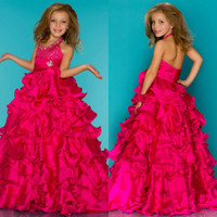 Reference Images Girl Beads Fairy Tale Sweet Stone Beaded Halter Layered Organza Ball Gown Skirt Fuchsia Little Girls Pageant Dresses Junior Formal Pageant Gown 476S