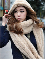 Wholesale 2015 Women s Autumn Winter Season Lambs Wool Hat One Three piece Scarf Gloves Scarf Collar Couples