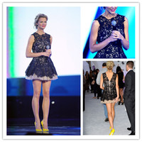 Wholesale 2014 Hot Selling Brooklyn Decker Spike TVs Video Game Awards High Neck A Line Mini Tulle Cocktail Dresses with Black Lace Prom Dresses