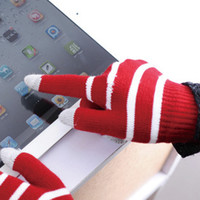 Wholesale 500pairs Striped Winter Warm women men touch screen Gloves unisex Mittens for woman man mobile cell phone tablet screens