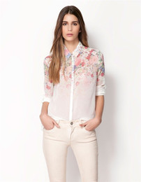 Wholesale New Lapel Collar Button Flowers Chiffon Long Sleeve Women Tops Blouse Size Choose DGY