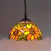 Sunflower Tiffany Glass Pendant Lamp Europe Style Rural Chandelier Study Room Bedroom Light Dia 30cm H 95cm