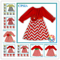 Wholesale New Arrivals cotton long sleeve dress kids clothing Autumn chevron dress for kids girl christmas set DHL free