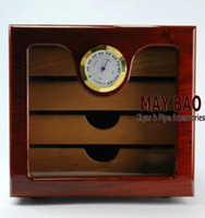 Wholesale 9 quot Wood Cigar Humidor With Ceder Drawers Cigar Humidor ct Cedar Lined Exterior Hygrometer
