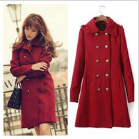 Women Waist_Length  Worsted Hot New Coat Winter Coat Fashion Women Red Worsted Coat Long Sleeve Double-breasted Plus Size Coat Overcoat Turn-down collar WindbreakerAU32
