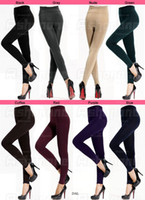 Wholesale Trendy New Brand Womens Girl Fleeced Leggings Warm Comfortable Tights Elastic Stretchy Slender Ninth Render Pants Colors Choose DAL