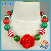 Wholesale Chrismas Chunky Necklaces Baby Necklace Cute Flower Resin Necklace for Kids New Arrival