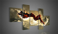 Wholesale 5 Panels Handmade Oil Painting Fine Canvas Wall Art the Nude Women in Light Cloud Aesthetic Style High Quality for House Decoration