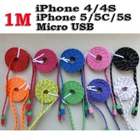 For Samsung   1M Noodle Flat Micro USB Charge Cable Colorful Sync Data Transfer and Charging Braid Woven Fabric Wire USB Charger Line Free DHL