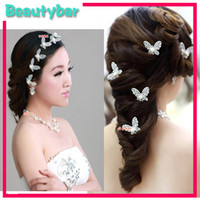Wholesale Crystal Rhinestone Artificial Pearl Butterfly Flower Hair Pin Clips Hairpins Women Hair Wedding Jewelry Red amp Silver