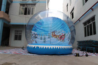 0.8MM clear PVC and PVC tarpaulin inflatable christmas - HIGH QUALITY Christmas inflatable snow globe Santa Claus with his sled backdrop Nice clear dome decor UL blower and air pump