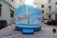 Wholesale HIGH QUALITY Christmas inflatable snow globe Santa Claus with his sled backdrop Nice clear dome decor UL blower and air pump