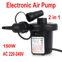 Wholesale Freeshipping W AC V Electronic Air Pump Inflator Deflator with Three Different Nozzles Adapters UK Plug