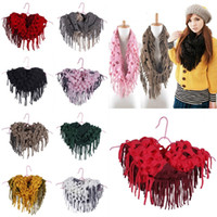 Wholesale Women Men s Knitted Crochet Tassel Infinity Scarves Fringes Loop Scarf Shawl Wraps Hollow Wram DLL
