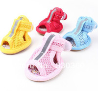 Wholesale Brand New Pet Dog Shoes Booties PU Mesh Gridding Shoes Anti skidding set Colors Sizes XS XL