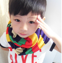 Wholesale Colorful Rainbow Striped Children Boys Girls Scarvas Kids Funny Wraps Warm Autumn Winter Casual Scarf Styles B2014